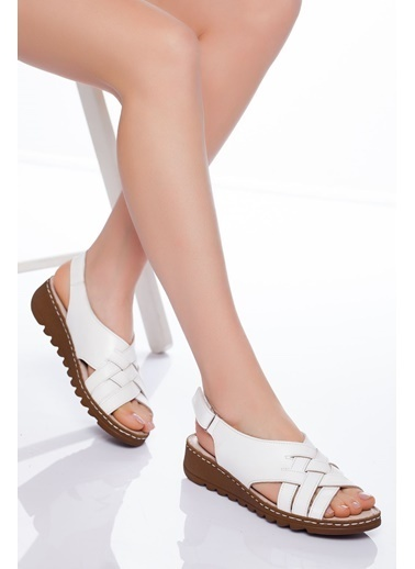 Derithy Derithy-Hakiki Deri Sandalet-Siyah Beyaz